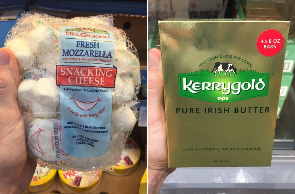 keto foods at costco a bag of fresh mozzarella snacking cheese beside a box of kerrygold irish butter