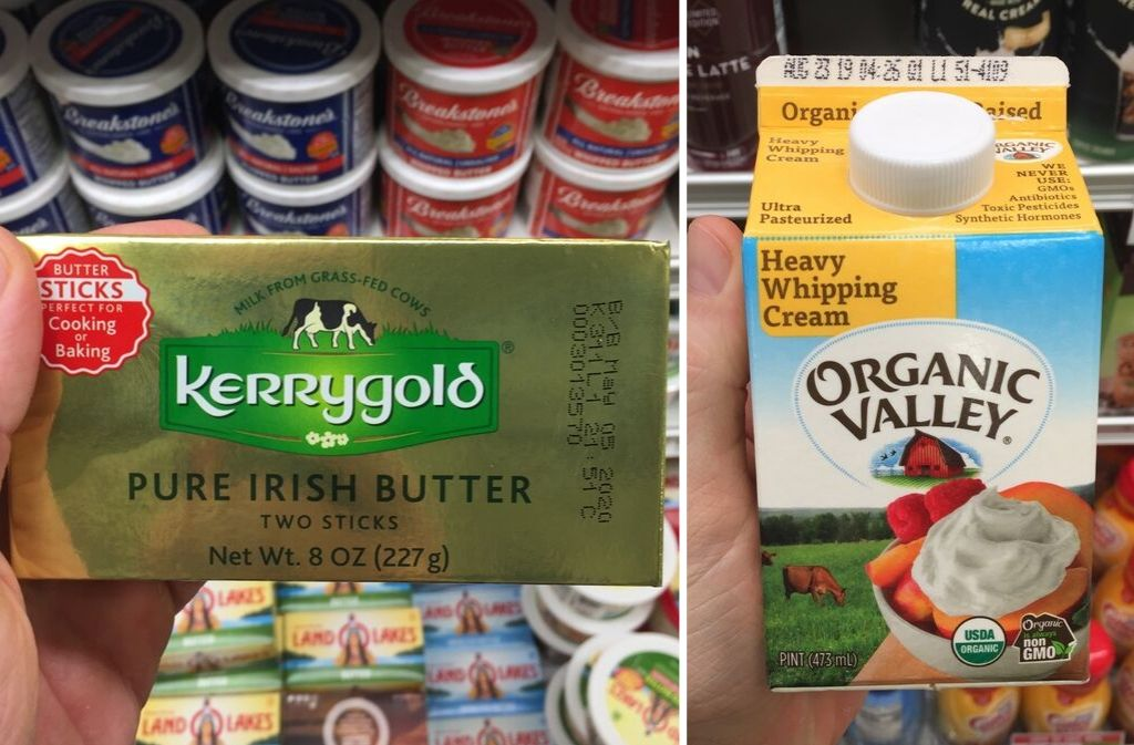 box of kerrygold irish butter beside a container of organic valley heavy whipping cream
