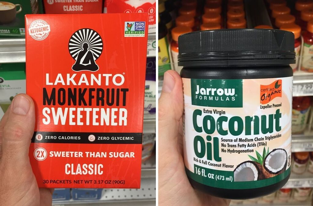box of lakanto monkfruit sweetener beside a jar of jarrow formulas coconut oil