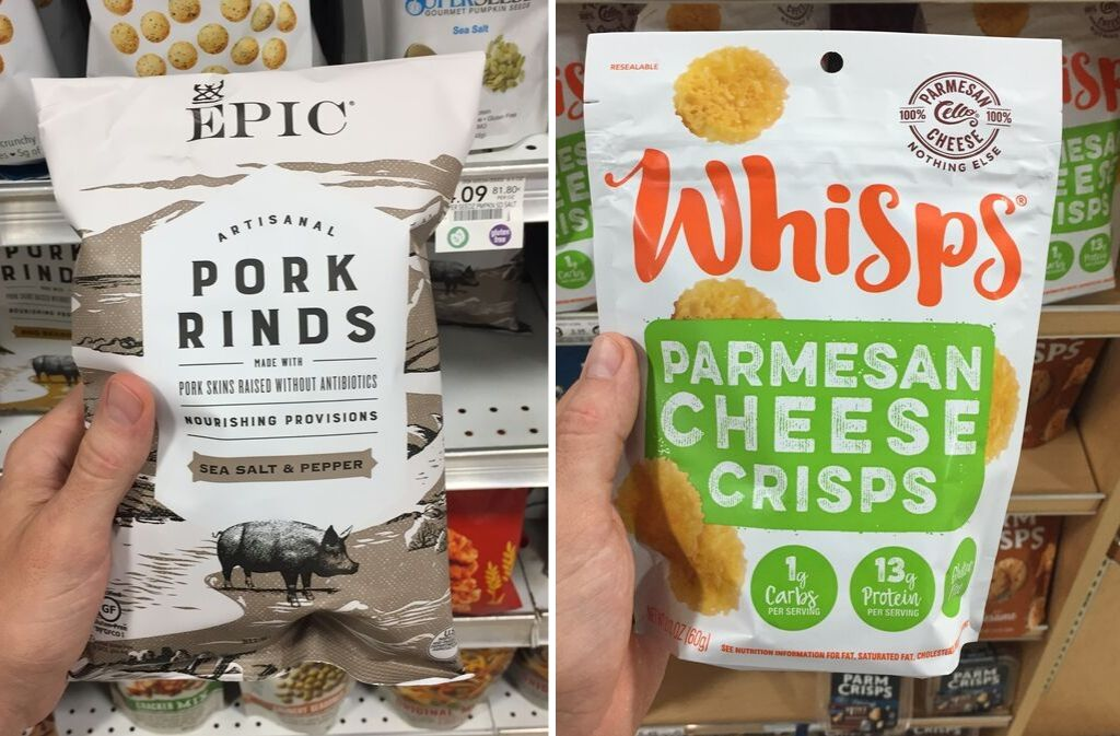 bag of epic pork rinds beside a bag of whisps parmesan cheese crisps
