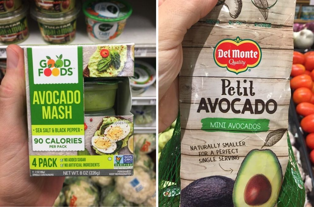 good foods avocado mash beside a bag of del mote mini avocados