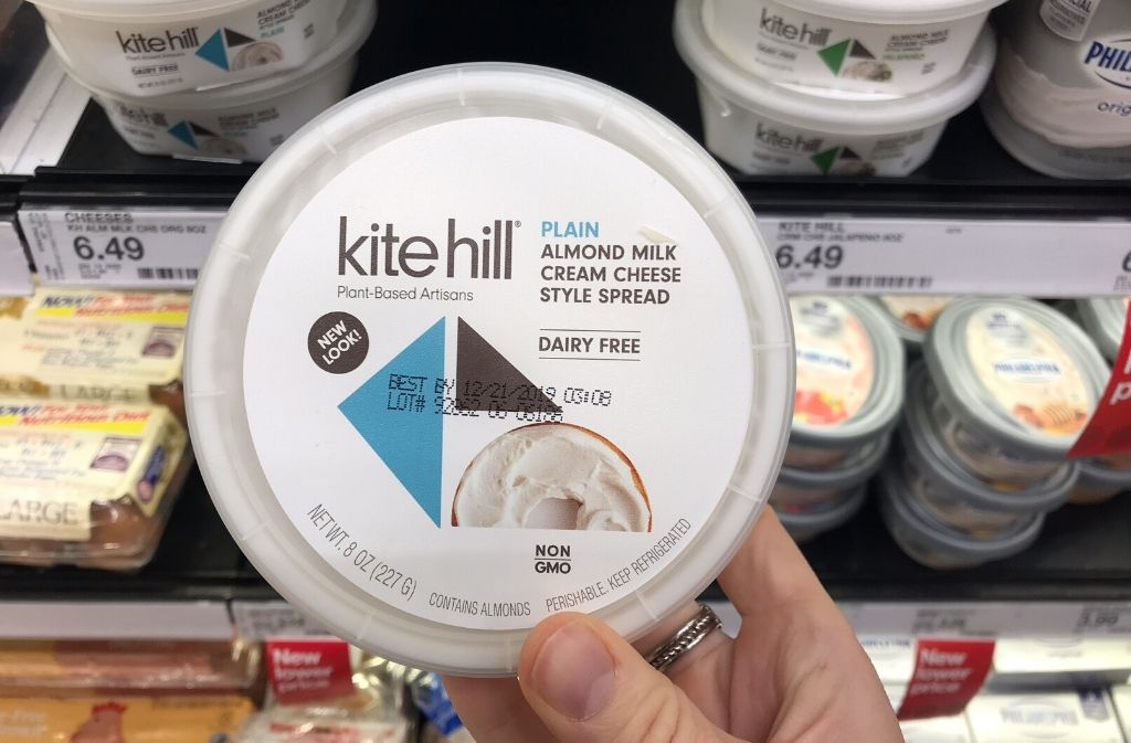 container of kite hill dairy-free cream cheese