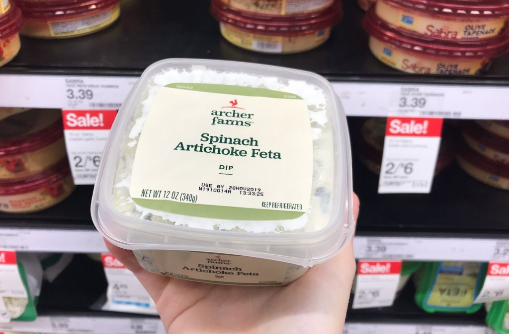 container of archer farms spinach artichoke dip