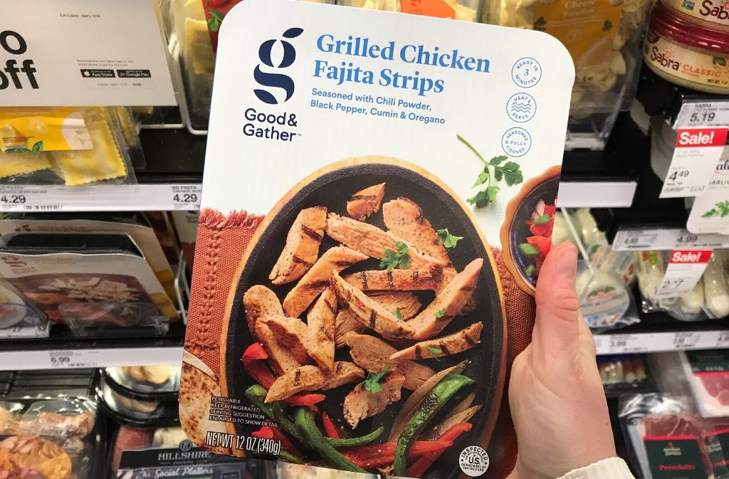 a container of grilled chicken fajita strips