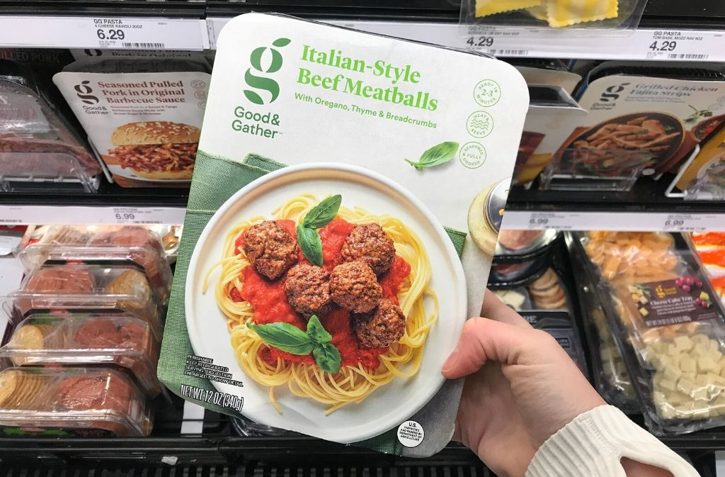 a package of good and gather beef meatballs
