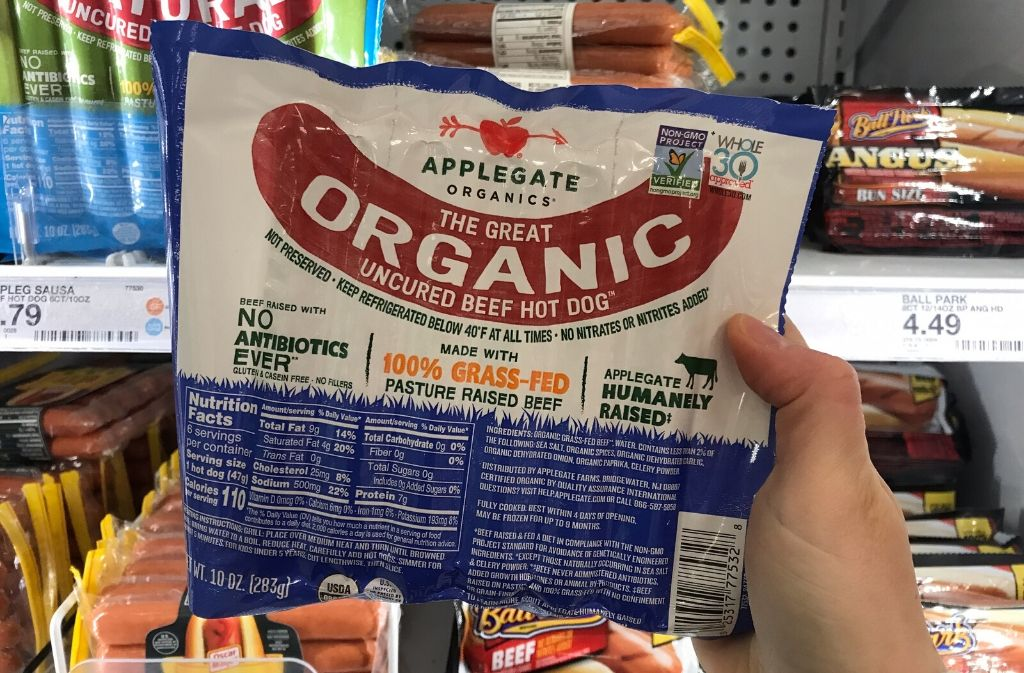 a package of applegate organics beef hot dogs