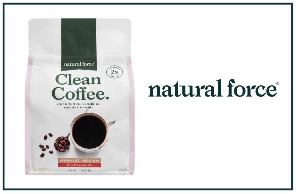 bag of natural force mold and mycotoxin free clean coffee next to natural force logo