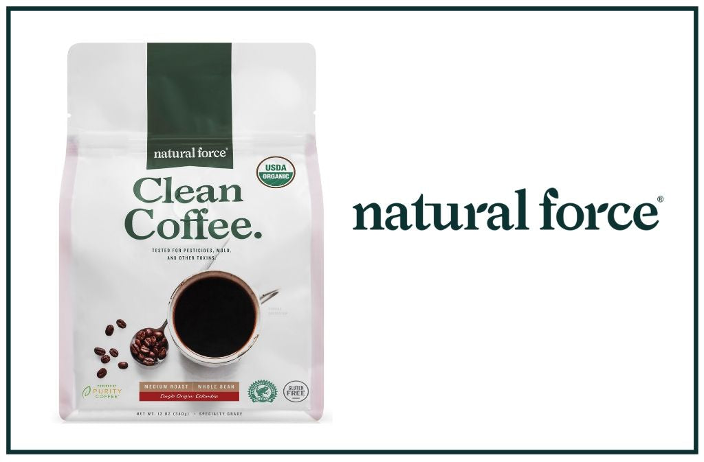 natural force clean coffee package beside natural force logo
