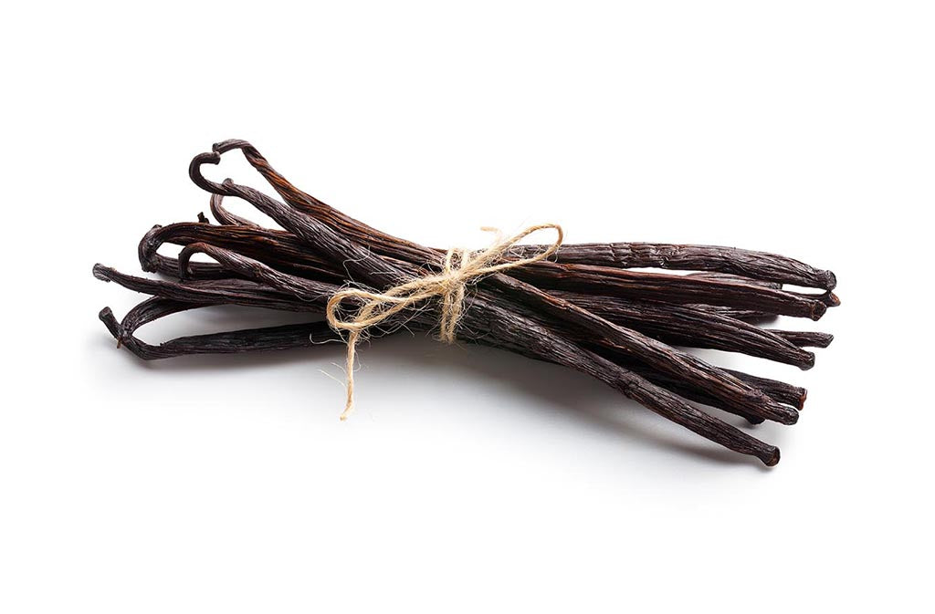 bundle of vanilla beans which are used to make natural vanilla flavor