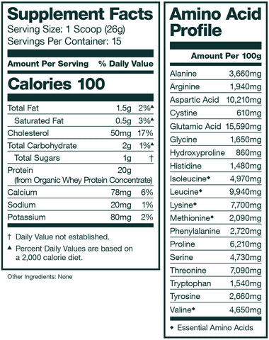 unflavored organic whey protein supplement facts panel