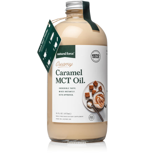 natural force creamy caramel mct oil front