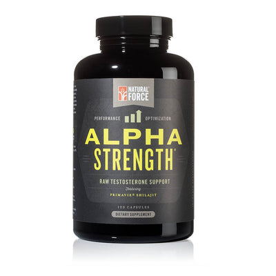 front side of natural force 30 serving alpha strength bottle