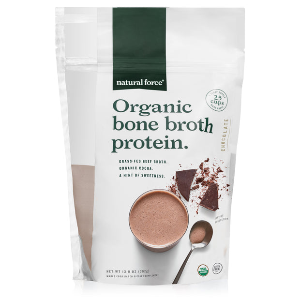 front view of natural force chocolate organic bone broth protein