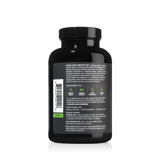 right side of natural force 30 serving cordyceps pro bottle