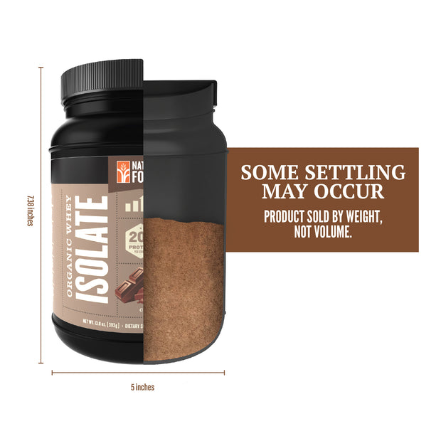 cutout showing fill level for chocolate organic whey isolate