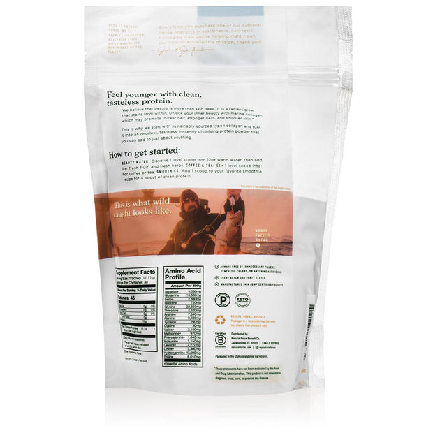 back side of natural force marine collagen 30 servings