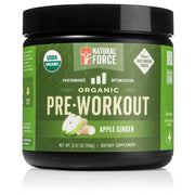 front side of natural force 30 serving apple ginger organic pre-workout