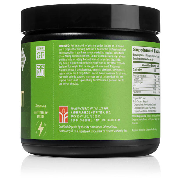 left side of natural force 30 serving apple ginger organic pre-workout