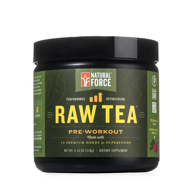 front side of natural force 30 serving original raw tea pre-workout