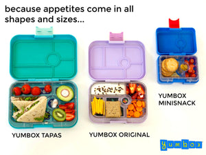 Yumbox Tapas Boxes. Assorted Colours. Shop now online or in store at Sticky Fingers Children's Boutique, Melbourne.