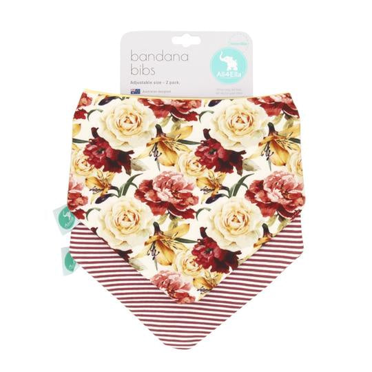 Bandana Bibs 2 Pack Reversible Lily rose design by All4Ella. Shoop online or in store at Sticky Fingers Children's Boutique, Niddrie, Melbourne.
