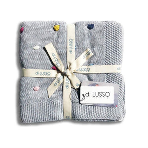 Di Lusso baby blankets. Shop Sticky Fingers Children's Boutique, Niddrie, Melbourne In store or online. Grey confetti baby blanket. Baby gift.