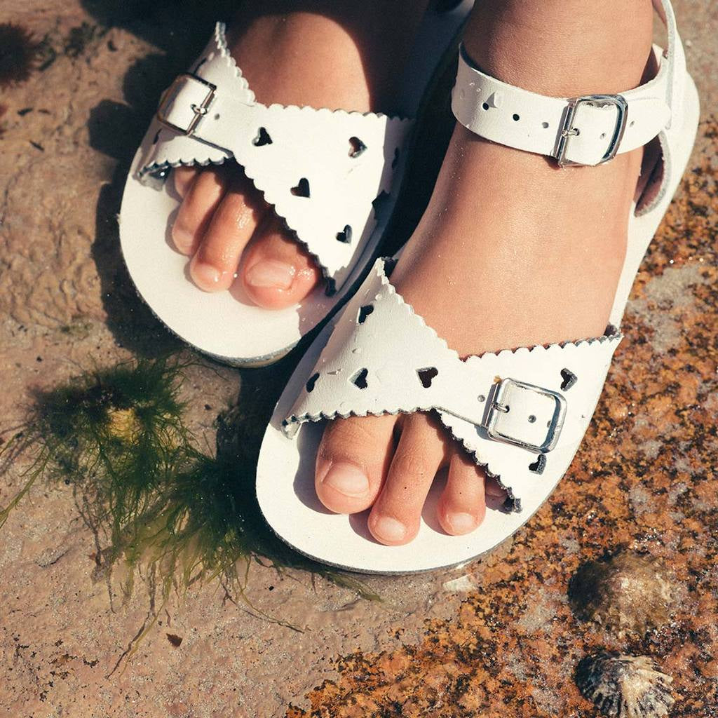 Sweetheart White salt water sandals. Shop online or in store at Sticky Fingers Children's Boutique, Niddrie, Melbourne. Girls sandals.