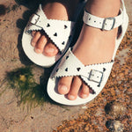 Load image into Gallery viewer, Sweetheart White salt water sandals. Shop online or in store at Sticky Fingers Children's Boutique, Niddrie, Melbourne. Girls sandals.