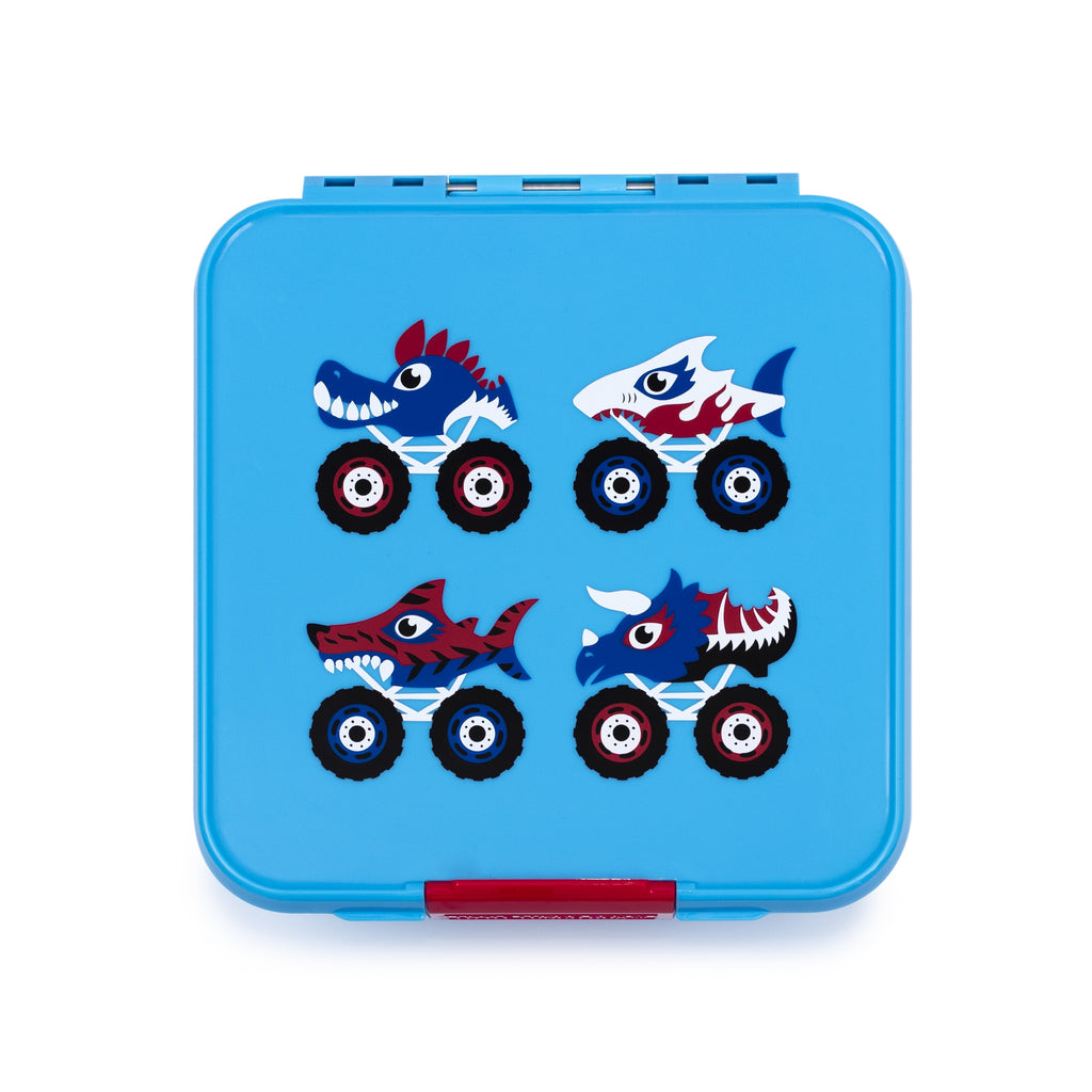 Little Lunch Box. Bento Three Monster Truck Box. Shop online or instore now at Sticky Fingers Children's Boutique, Niddrie, Melbourne.