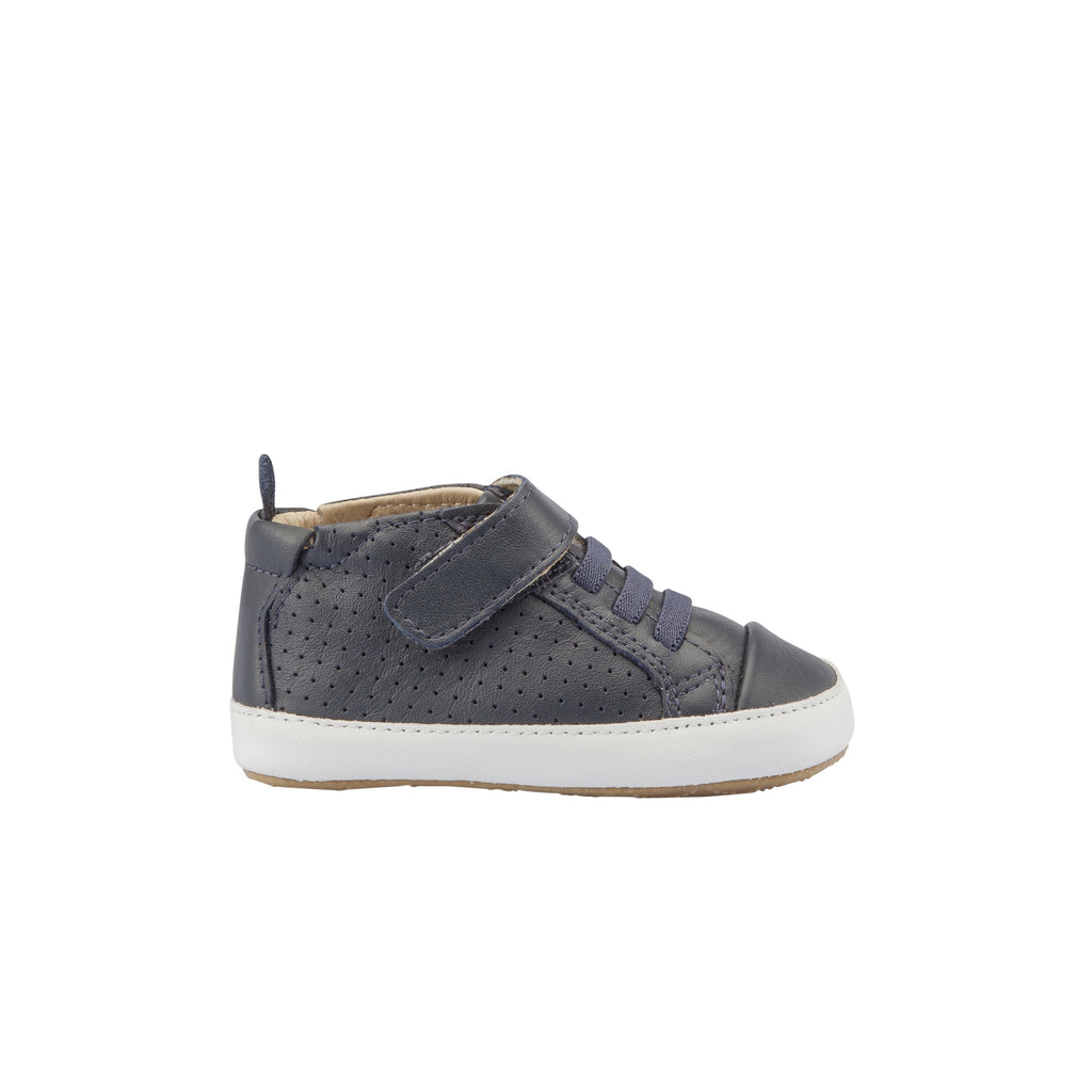 Baby Boy Pre Walker Navy High Tops. First Walker shoes For Boys. Shop At Sticky Fingers Childrens Boutique in Niddrie, Melbourne