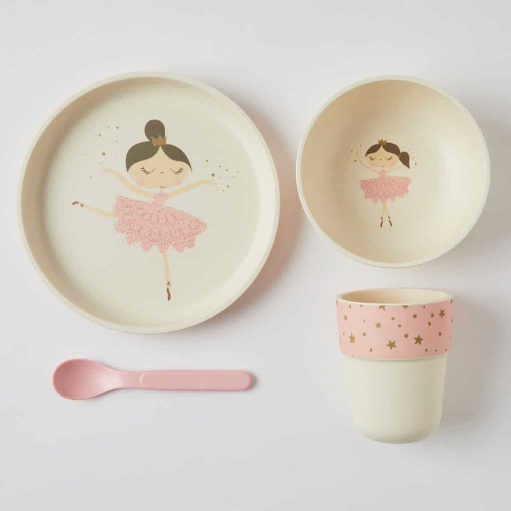 BambooWare Kids 4 Piece dinner set. Ballerina dinner set for kids. Shop online or in store at Sticky Fingers Children's Boutique, Niddrie.