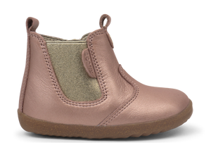 Rose gold boots for baby girls. Pre walker boots for girls. Leather first walker boots. Shop local at Sticky Fingers Children's Boutique in Niddrie, Melbourne, Victoria