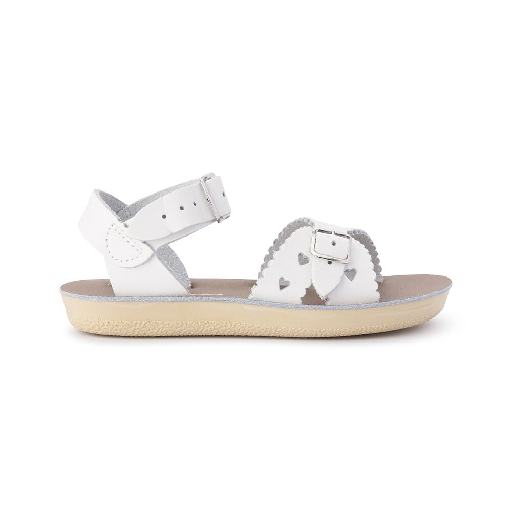 Saltwater Sandals Sweetheart in White at Sticky Fingers Children's Boutique