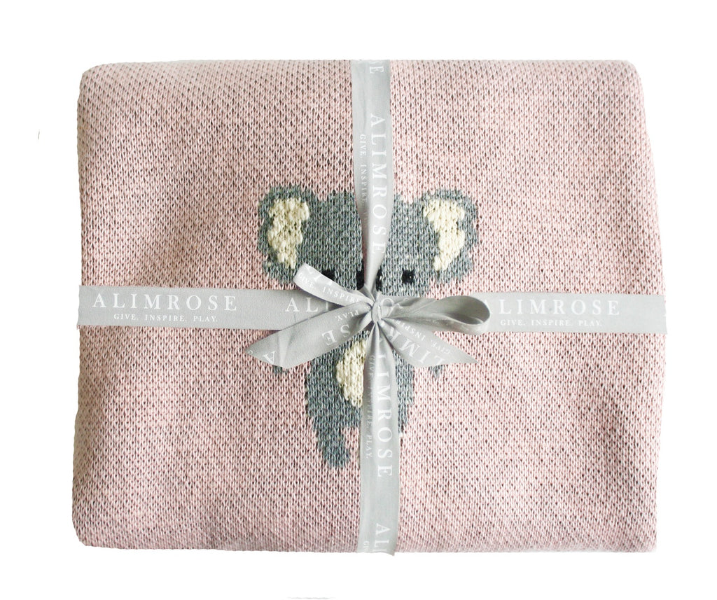 Baby Girls Blankets. Pink and grey Koala. Shop Local in NIddrie At Sticky Fingers Children's Boutique
