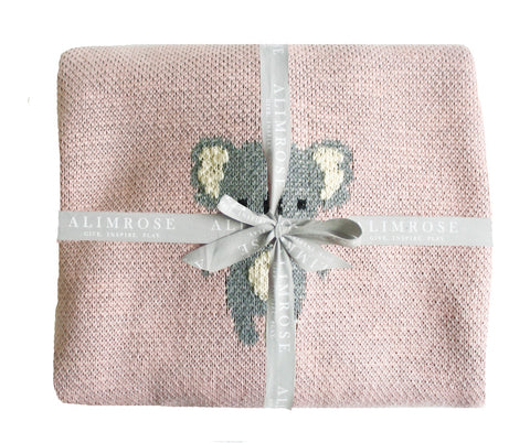 Baby Blanket Cotton Knit Koala Pink