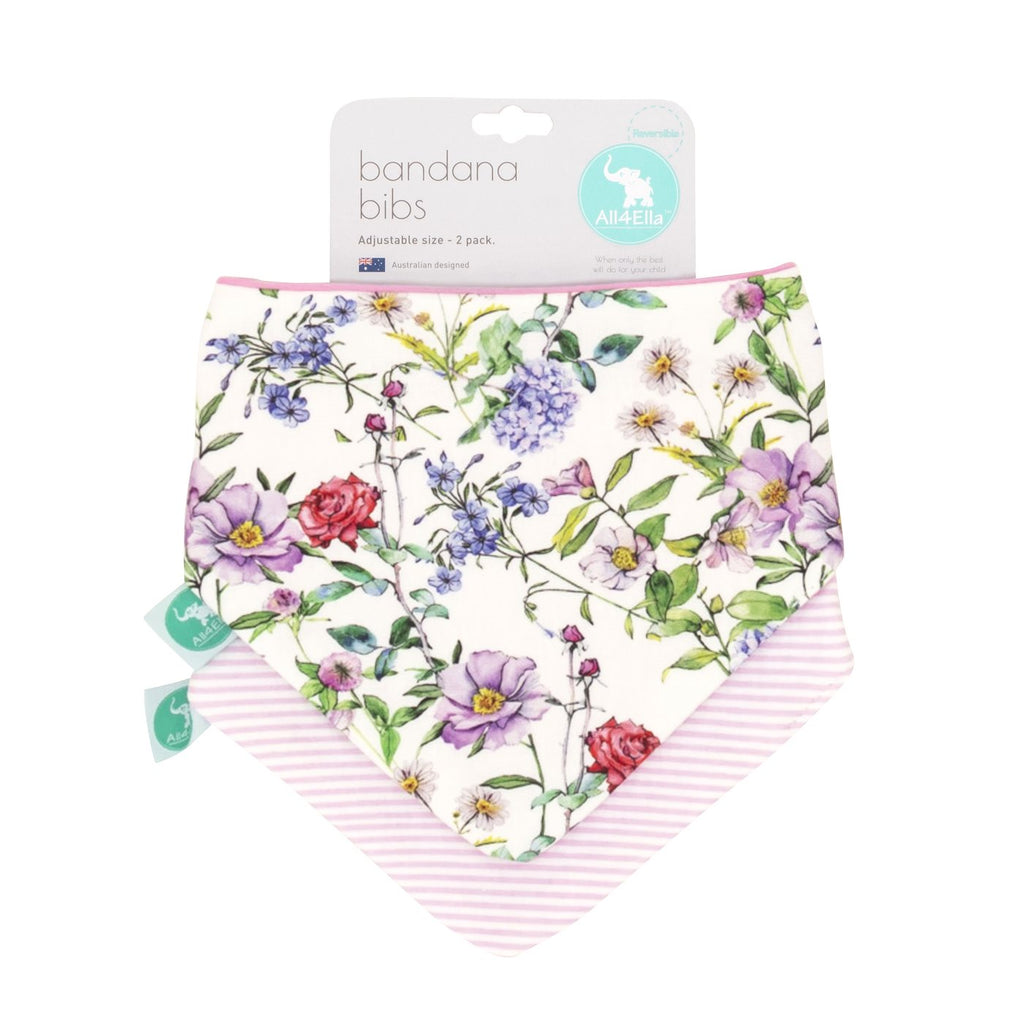 Bandana Bibs 2Pk Reversible hydrangeas. Shop online or in store at Sticky Fingers Children's Boutique, niddrie, melbourne.