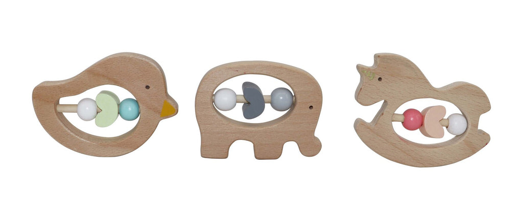 Animal baby rattle. Shop at Sticky Fingers Children's Boutique in Niddrie, Melbourne. Educational gift ides for children. Shop online or in store. Baby gift ideas.