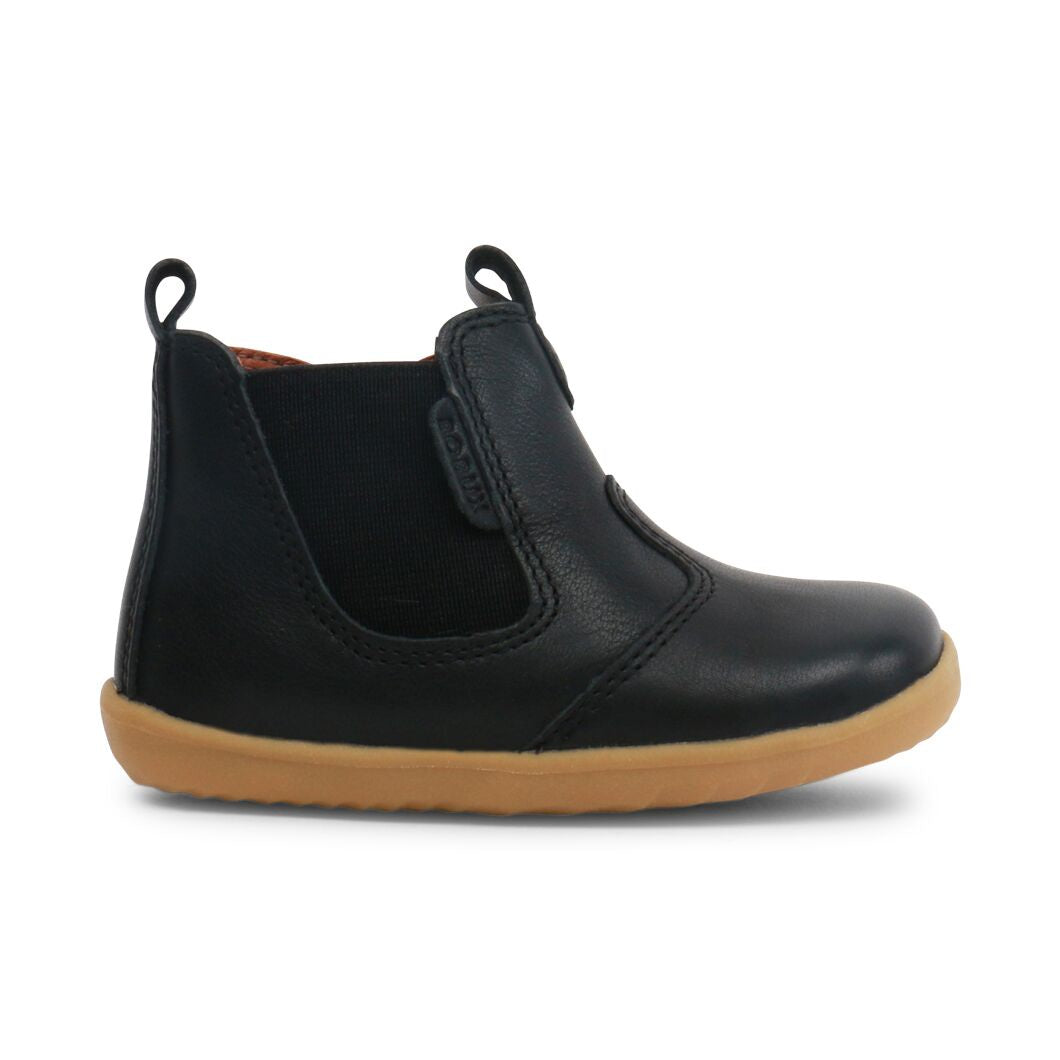 Classic baby's black boots. Pre walker boots for boys. Pre walker for boys. First walker boot. Leather baby boots. Shop local at Sticky Fingers Children's Boutique in Niddrie, Victoria, Melbourne.