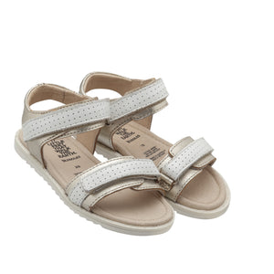 Strapping Gold and snow sandal for girls. Old soles summer collection 2020. leather sandals for girls. Shop online or in store at Sticky Fingers Children's Boutique, Niddrie, Melbourne
