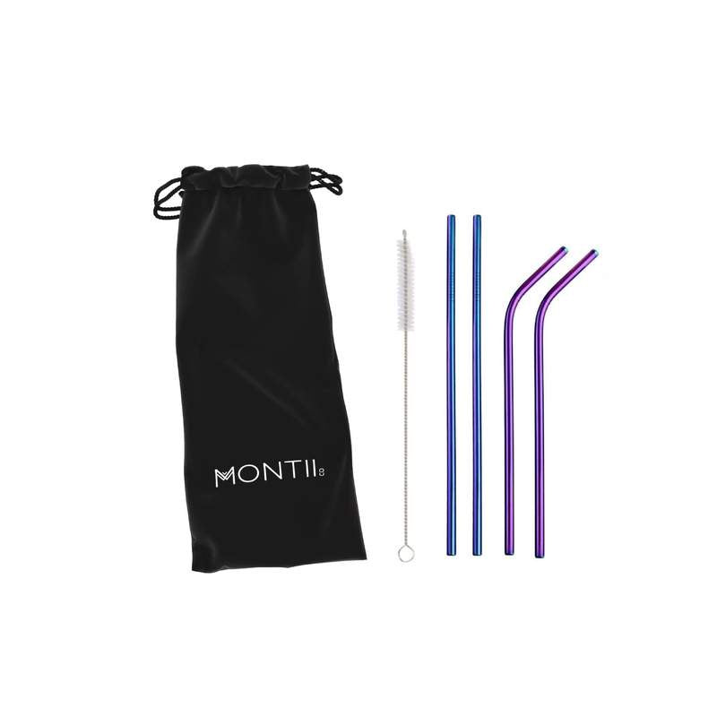 MontiiCo Rainbow Stainless Straw Set