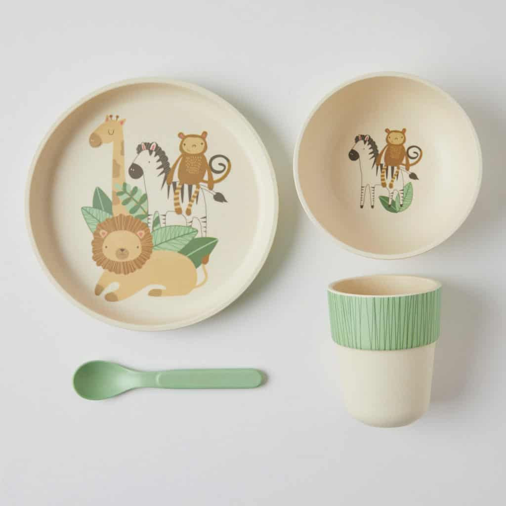 BambooWare Kids 4 Piece dinner set. Safari dinner set for kids. Shop online or in store at Sticky Fingers Children's Boutique, Niddrie.