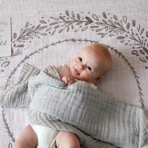 Pilbeam Double Muslin blanket Grey Newborn baby gift Melbourne at Sticky Fingers Children's Boutique