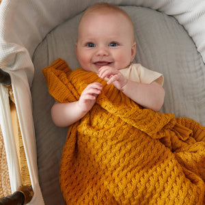 Pilbeam Basket weave knitted blanket Newborn baby gift Melbourne at Sticky Fingers Children's Boutique