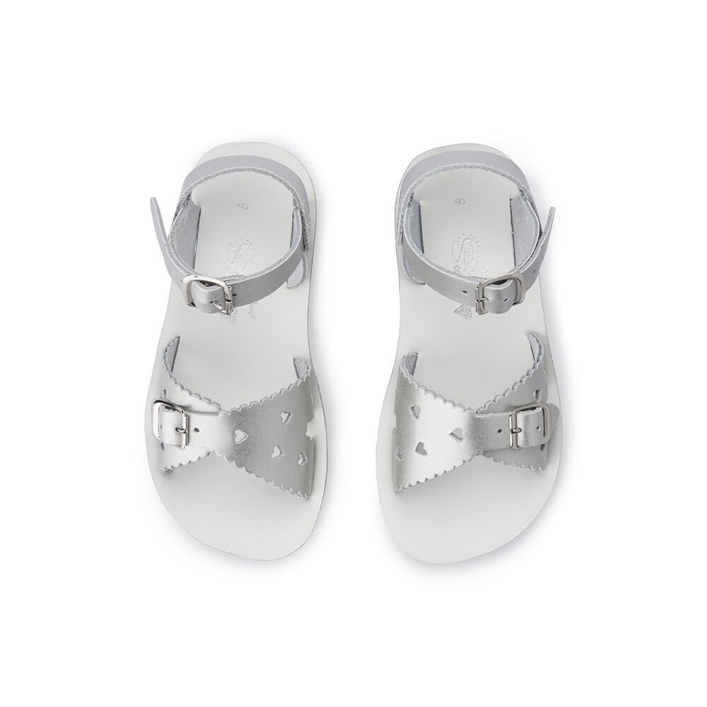 Saltwater Sandals Sweetheart in Silver at Sticky Fingers Children's Boutique
