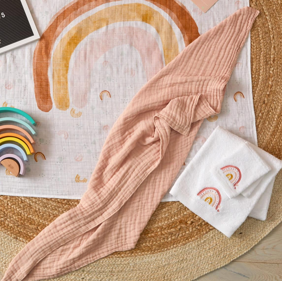Double Muslin Cotton Blanket Peach Whip