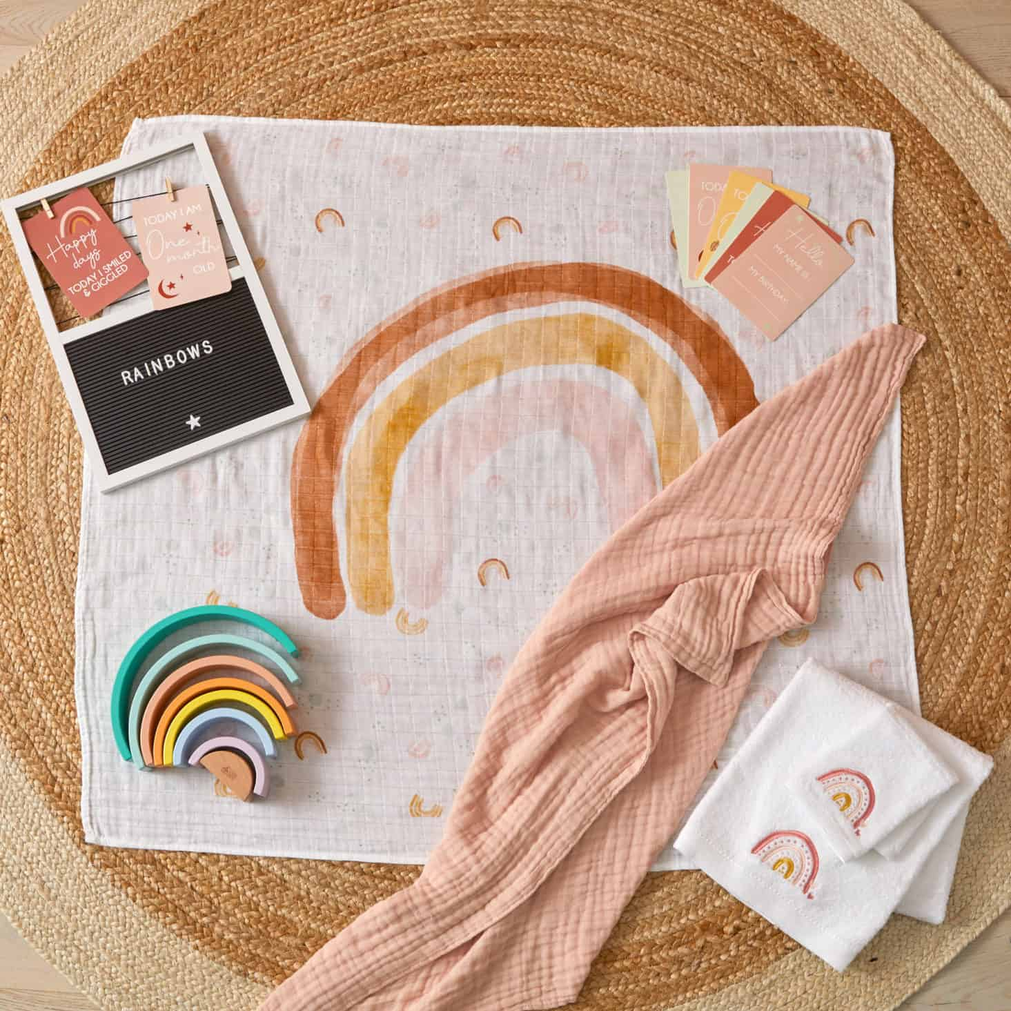 Pilbeam Milestone Muslin set rainbow Newborn baby gift Melbourne at Sticky Fingers Children's Boutique