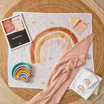Load image into Gallery viewer, Pilbeam Milestone Muslin set rainbow Newborn baby gift Melbourne at Sticky Fingers Children's Boutique
