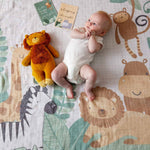 Load image into Gallery viewer, Pilbeam Milestone Muslin set jungle Newborn baby gift Melbourne at Sticky Fingers Children's Boutique