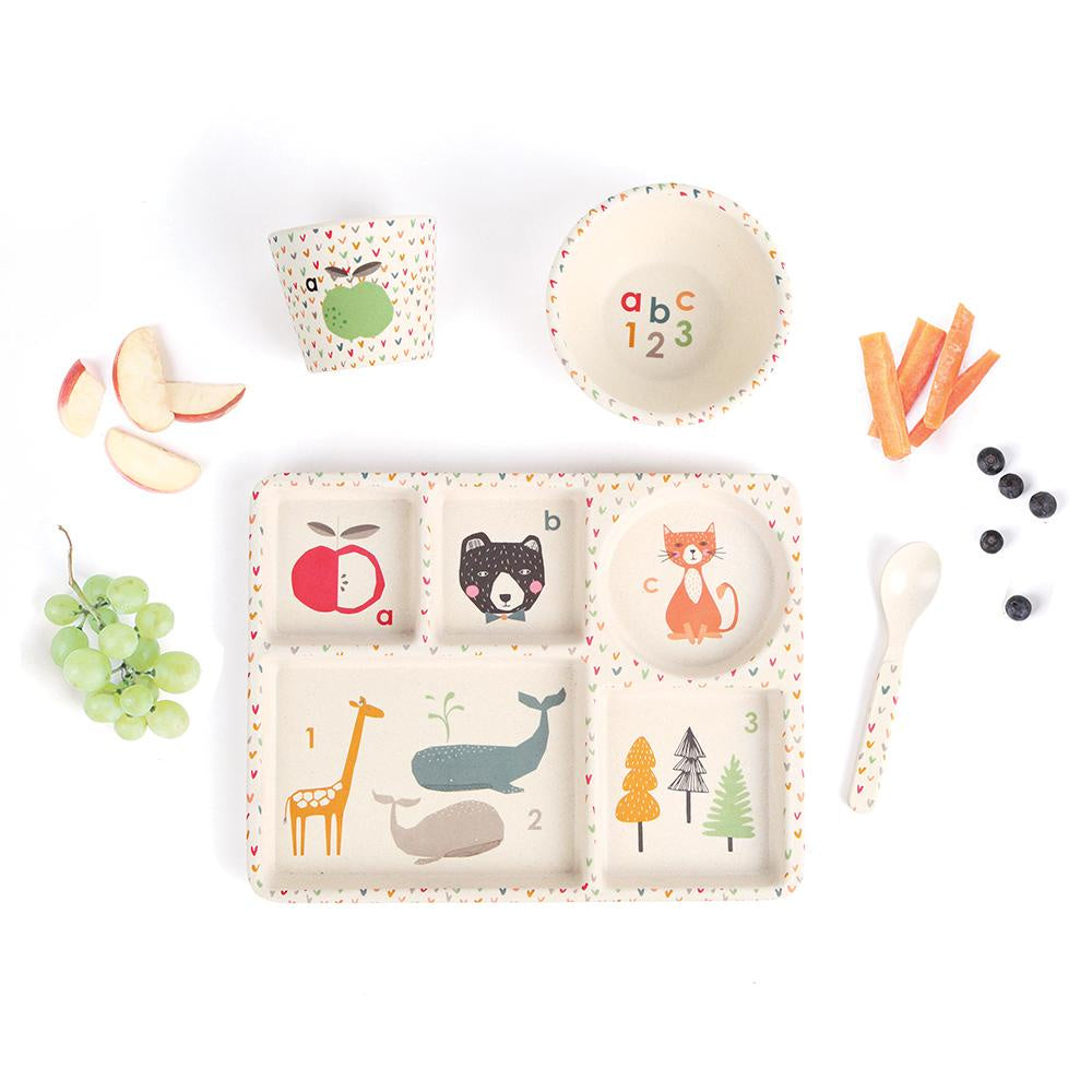 ABC Children's Bamboo Dinner Sets. Shop online or in store at Sticky Fingers Children's Boutique, Niddrie, Melbourne. Love Mae Dinner set for children.