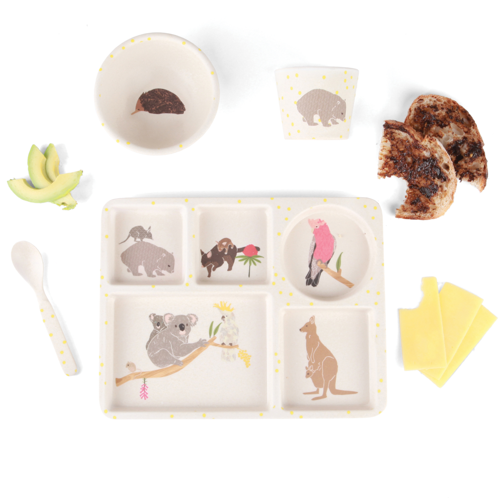 Bamboo Children's Dinner Set Love Mae Melbourne Boutique. In store or Online at Sticky Fingers children's Boutique, Niddrie, Melbourne.